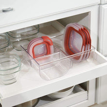 Load image into Gallery viewer, Best mdesign food storage container lid holder 3 compartment plastic organizer bin for organization in kitchen cabinets cupboards pantry shelves 2 pack clear