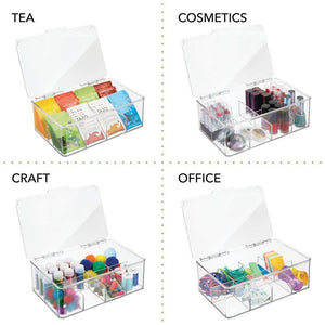Kitchen mdesign stackable plastic tea bag holder storage bin box for kitchen cabinets countertops pantry organizer holds beverage bags cups pods packets condiment accessories clear