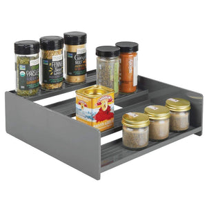 Organize with mdesign plastic kitchen spice bottle rack holder food storage organizer for cabinet cupboard pantry shelf holds spices mason jars baking supplies canned food 4 levels 2 pack charcoal gray