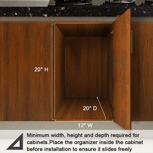 Get secura pull out cabinet organizer professional kitchen and bathroom sink cabinet organizer with 2 tier sliding out shelves