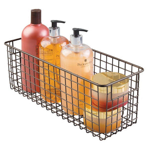 New mdesign bathroom metal wire storage organizer bin basket holder with handles for cabinets shelves closets countertops bedrooms kitchens garage laundry 16 x 6 x 6 4 pack bronze