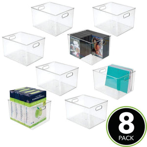 Kitchen mdesign plastic storage container bin with carrying handles for home office filing cabinets shelves organizer for school supplies pens pencils notepads staplers envelopes 8 pack clear