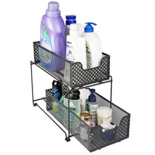 Load image into Gallery viewer, Home 2 tier organizer baskets with mesh sliding drawers ideal cabinet countertop pantry under the sink and desktop organizer for bathroom kitchen office