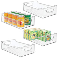 Load image into Gallery viewer, Selection mdesign wide stackable plastic kitchen pantry cabinet refrigerator or freezer food storage bin with handles organizer for fruit yogurt snacks pasta bpa free 14 5 long 4 pack clear