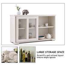 Load image into Gallery viewer, Related costzon kitchen storage sideboard antique stackable cabinet for home cupboard buffet dining room cream white with sliding door window