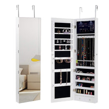 Load image into Gallery viewer, On amazon giantex wall door jewelry armoire cabinet with mirror 2 led lights auto on large storage wide mirrored 1 scarf rod 36 hooks 1 makeup pouch organizer for bedroom jewelry amoires w 2 drawers white