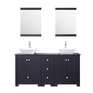 New sliverylake 60 bathroom vanity and sink combo bathroom cabinet black countertop sink bowl w mirror set ceramic vessel black trapeziform