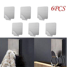 Load image into Gallery viewer, Latest doitb 6pcs square self adhesive mini hook cloth key hat racket hooks stainless steel hanging hooks for bathroom bedroom office cabinet draw clothes kitchenware hooks hangers for office and kitchen