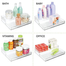 Load image into Gallery viewer, Explore mdesign plastic kitchen canned food storage organizer shelves holder for cabinet countertop pantry holds beans sauces tomato paste vegetables soups 2 levels 12 w 2 pack clear