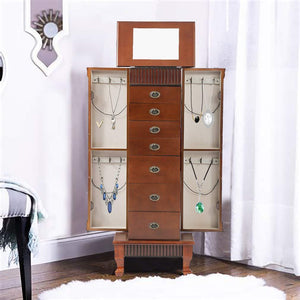 Select nice fdw jewelry cabinet jewelry chest jewelry armoire wood jewelry box storage stand organizer with side doors 7 drawers makeup mirror