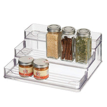Load image into Gallery viewer, Save mdesign plastic spice and food kitchen cabinet pantry shelf organizer 3 tier storage modern compact caddy rack holds spices herb bottles jars for shelves cupboards refrigerator clear