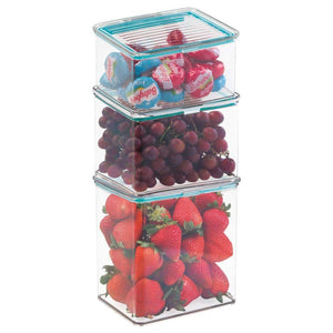 Amazon mdesign airtight stackable kitchen pantry cabinet or refrigerator food storage containers attached hinged lids compact bins for pantry refrigerator freezer bpa free food safe set of 3 clear