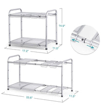 Load image into Gallery viewer, Discover bextsware under sink shelf organizer 2 tier storage rack with flexible expandable 15 to 27 inches for kitchen bathroom cabinet