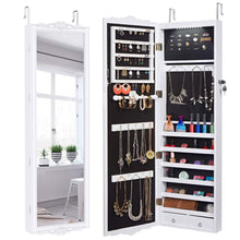 Load image into Gallery viewer, Discover the best langria 10 leds wall door mounted jewelry cabinet lockable jewelry armoire storage organizer for accessories carved design 2 drawers 3 adjustable heights white