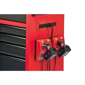 Purchase milwaukee heavy duty red black 46 in 8 drawer rolling steel storage cabinet contemporary hardware chest for your carpentry or construction tools like drills wrenches drivers battery packs
