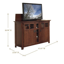 Load image into Gallery viewer, Get touchstone 70062 bungalow tv lift cabinet chestnut oak up to 60 inch tvs diagonal 55 in wide mission style motorized tv cabinet pop up tv cabinet with memory feature ir rf 12v trigger