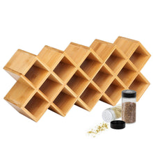 Load image into Gallery viewer, Storage organizer criss cross 18 jar bamboo countertop spice rack organizer kitchen cabinet cupboard wall mount door spice storage fit for round and square spice bottles free standing for counter cabinet or drawers
