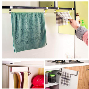 Cheap towel bar fit bathroom and kitchen brushed stainless steel towel hanger over cabinet drawer door 4 pcs