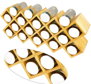 Amazon best criss cross 18 jar bamboo countertop spice rack organizer kitchen cabinet cupboard wall mount door spice storage fit for round and square spice bottles free standing for counter cabinet or drawers
