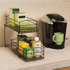 Buy now seville classics 2 tier sliding basket drawer kitchen counter and cabinet organizer bronze