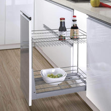 Load image into Gallery viewer, Exclusive 17 3x11 8x20 7 cabinet pull out chrome wire basket organizer 2 tier cabinet spice rack shelves bowl pan pots holder full pullout set