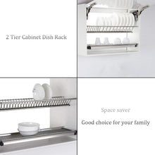 Load image into Gallery viewer, Discover the best modern 2 tier kitchen folding dish drying dryer rack 35 4 for cabinet stainless steel drainer plate bowl storage organizer holder