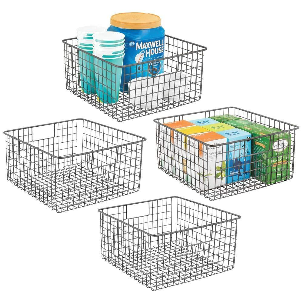 Try mdesign farmhouse decor metal wire food storage organizer bin basket with handles for kitchen cabinets pantry bathroom laundry room closets garage 12 x 12 x 6 4 pack graphite gray