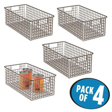Load image into Gallery viewer, Exclusive mdesign farmhouse decor metal wire food organizer storage bin basket with handles for kitchen cabinets pantry bathroom laundry room closets garage 16 x 9 x 6 in 4 pack bronze