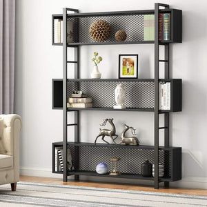 5-Shelf Bookshelf with Metal Wire, Vintage Industrial Bookcase