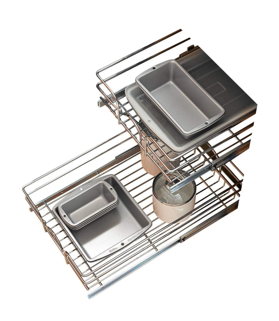 Best rev a shelf 5wb2 2122 cr 21 in w x 22 in d base cabinet pull out chrome 2 tier wire basket