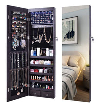 Load image into Gallery viewer, Budget aoou jewelry organizer jewelry cabinet wall mounted jewelry organizer with mirror full length mirror large capacity dressing makeup jewery mirror jewelry armoire brown