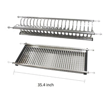 Load image into Gallery viewer, Discover modern 2 tier kitchen folding dish drying dryer rack 35 4 for cabinet stainless steel drainer plate bowl storage organizer holder