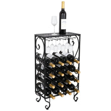 Load image into Gallery viewer, Best seller  smartxchoices 16 bottle wine rack table top with glass hanger wine bottle holder solid metal floor free standing wine organizer shelf side table for cabinet kitchen