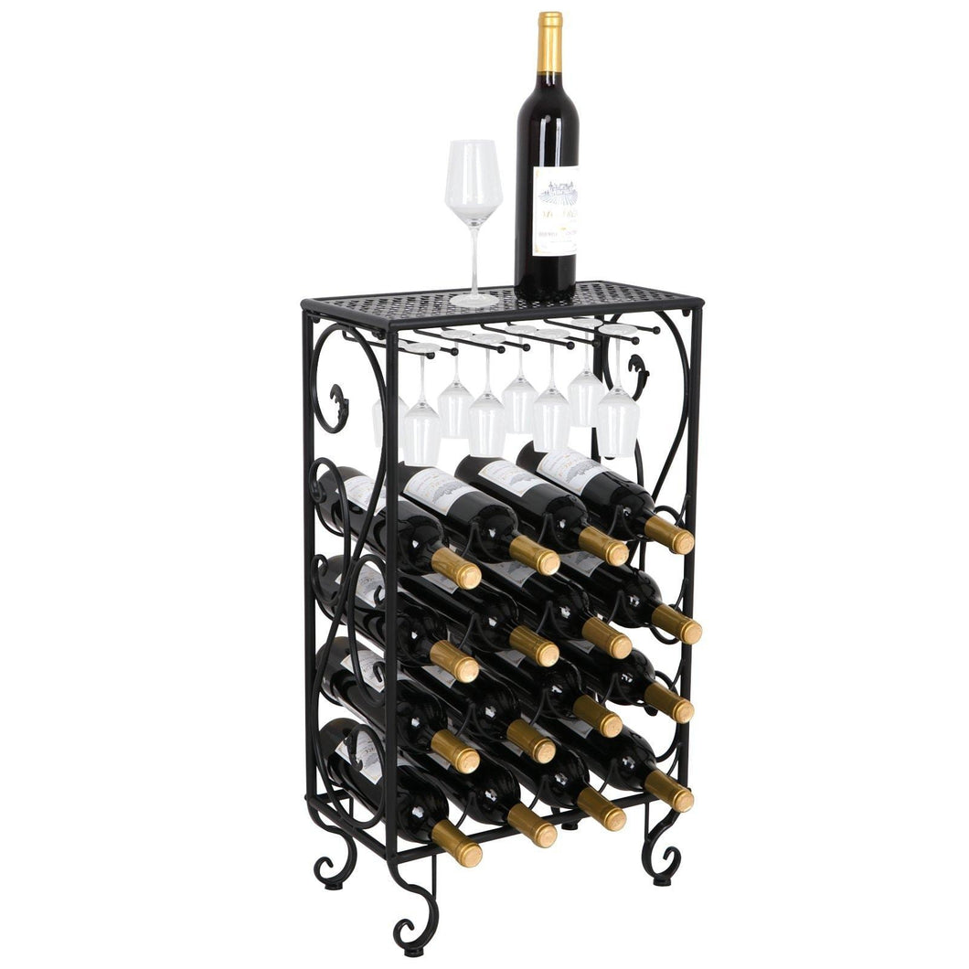 Best seller  smartxchoices 16 bottle wine rack table top with glass hanger wine bottle holder solid metal floor free standing wine organizer shelf side table for cabinet kitchen