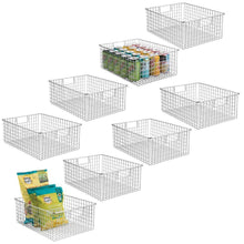 Load image into Gallery viewer, Select nice mdesign farmhouse decor metal wire food organizer storage bin baskets with handles for kitchen cabinets pantry bathroom laundry room closets garage 8 pack chrome