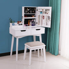 Load image into Gallery viewer, Top rated bewishome vanity set with mirror jewelry cabinet jewelry armoire makeup organizer cushioned stool 2 sliding drawers white makeup vanity desk dressing table fst04w