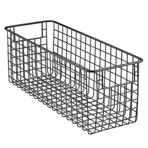 Order now mdesign farmhouse decor metal wire food storage organizer bin basket with handles for kitchen cabinets pantry bathroom laundry room closets garage 16 x 6 x 6 6 pack matte black