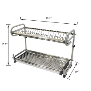 Organize with 2 tier kitchen cabinet dish rack 19 3 wall mounted stainless steel dish rack steel dishes drying rack plates organizer rubber leg protector with drain board