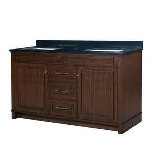 Organize with maykke abigail 60 bathroom vanity set in birch wood american walnut finish double brown cabinet with countertop backsplash in black granite and ceramic undermount sink in white ysa1376001