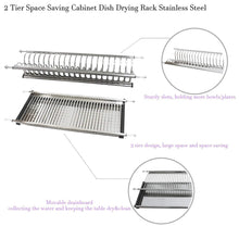 Load image into Gallery viewer, Exclusive modern 2 tier kitchen folding dish drying dryer rack 35 4 for cabinet stainless steel drainer plate bowl storage organizer holder