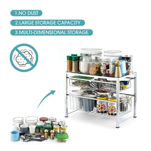 Order now bextsware under sink cabinet organizer with 2 tier wire grid sliding drawer multi function stackable mesh storage organizer for kitchen counter desktop bathroomchrome