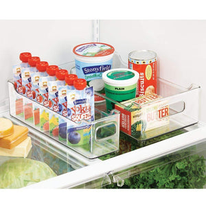 Storage mdesign wide stackable plastic kitchen pantry cabinet refrigerator or freezer food storage bin with handles organizer for fruit yogurt snacks pasta bpa free 14 5 long 4 pack clear