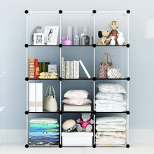 Load image into Gallery viewer, Online shopping kousi portable storage cube cube organizer cube storage shelves cube shelf room organizer clothes storage cubby shelving bookshelf toy organizer cabinet transparent white 12 cubes