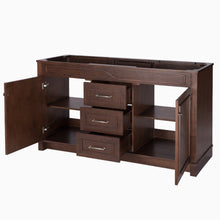 Load image into Gallery viewer, Results maykke abigail 60 bathroom vanity cabinet in birch wood american walnut finish double floor mounted brown vanity base cabinet only ysa1156001