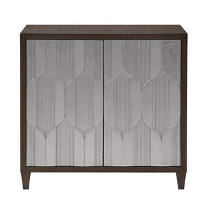 Organize with madison park mp130 0657 leah storage cabinet modern transitional luxe double door design solid wood legs living room furniture accent chest 34 25 tall silver