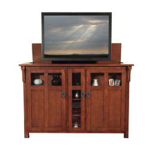 Load image into Gallery viewer, Exclusive touchstone 70062 bungalow tv lift cabinet chestnut oak up to 60 inch tvs diagonal 55 in wide mission style motorized tv cabinet pop up tv cabinet with memory feature ir rf 12v trigger