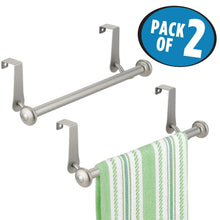 Load image into Gallery viewer, Best seller  mdesign vintage metal decorative kitchen sink over cabinet steel metal towel bars storage and organization drying rack for hanging hand dish tea towels 10 5 wide pack of 2 satin
