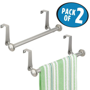 Best seller  mdesign vintage metal decorative kitchen sink over cabinet steel metal towel bars storage and organization drying rack for hanging hand dish tea towels 10 5 wide pack of 2 satin