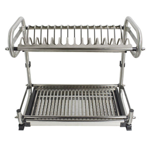Order now 2 tier kitchen cabinet dish rack 19 3 wall mounted stainless steel dish rack steel dishes drying rack plates organizer rubber leg protector with drain board