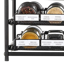 Load image into Gallery viewer, Results nex 3 tier standing spice rack kitchen countertop storage organizer adjustable shelf pull out spice rack slide out cabinet for spice jars glass empty cabinets holds 18 24 30 jars brown 30 jars